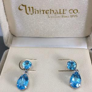 10K White Gold Blue Topaz Pear Shape Drop Earrings